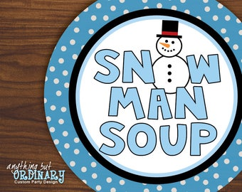 Snowman Soup Favor Tags, Printable Hot Chocolate Circle Labels, Mason Jar Labels, INSTANT DOWNLOAD, digital file