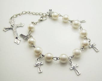 1 TENNER ROSARY CRUCIFIX WHITE METAL BRACELET SILVER + GLASS WITH CLASP.