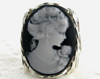 Classical Lady Rose Cameo Ring Sterling Silver Jewelry