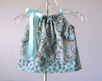 Baby Girls Aqua Dress - Dress and Bloomers Outfit - Paisley Print Dress - Aqua and Grey Pillowcase Dress - Size Nb, 3m, 6m, 9m, 2m or 18m