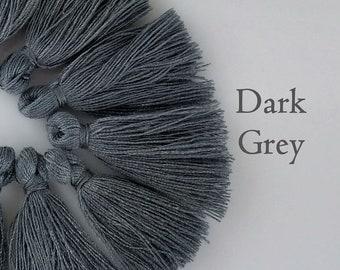 Dark Grey Tassel, Mini Cotton Tassel, 10/20/50pc, Boho Jewelry Supply, 25-35mm, Mini Tassels, Craft Supply, TS112