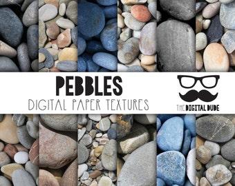Premium Digital Paper Set, Pebbles Digital Paper, Scrapbook Paper, Pebble Texture, Stones, Instant Download