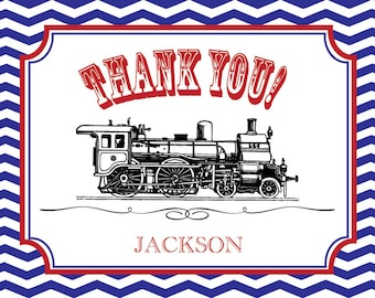 Personalized Train Thank You Cards - set of 16