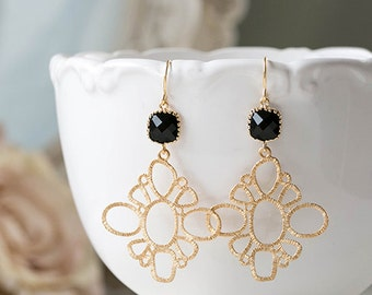 Black and Gold Earrings Jet Black Glass Gold Filigree Dangle Earrings Chandelier Earrings Black and Gold Wedding Jewelry Bridesmaid Gift