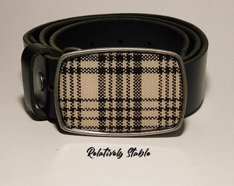 Equestrian belt buckle, horseman's plaid belt, preppy belt buckle-fits snap belts