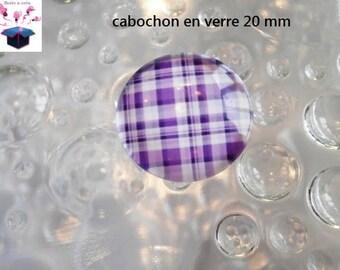 1 cabochon clear 20mm Scottish theme fabric