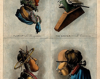 Arcimboldo-esque Composite Portraits of Trades (ca. 1800),  Florist, Writer, Musician, and Barber professions realized in tools they used