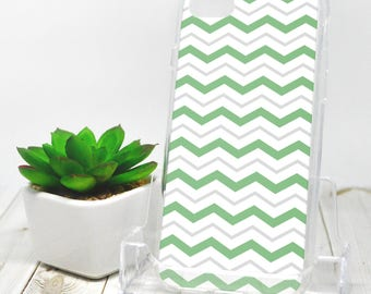 Gray Green Chevron iPhone 7 Case - Pattern with Alternating Green Gray and White Zigzags - iPhone 7 Plus Case