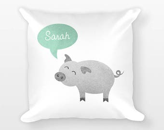 Custom Name Pillow, Pig Pillow, Personalized Pillow, Birthday Gift for Her, Farm Animal Kids Room Decor, Throw Pillow, Decorative Pillow