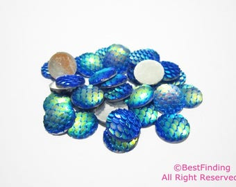 12mm Mermaid scales cabochons Blue Flat backs Dragon scale Fish scale Cabochons