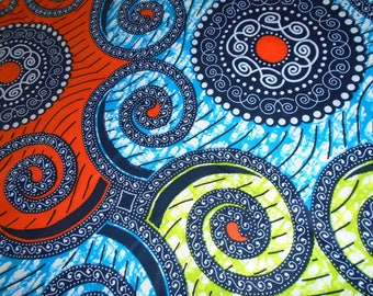 Vlisco Brand, Wax Print Fabric with Mandala Pattern, by the Half Yard