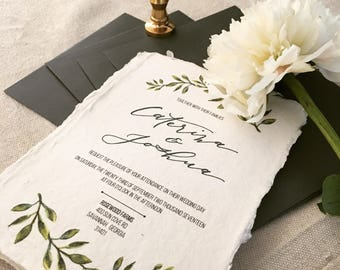Watercolor Greenery Wedding Invitation | Custom Calligraphy Wedding Invitation Suite | Custom |Semi Custom | Calligraphy | Handmade paper