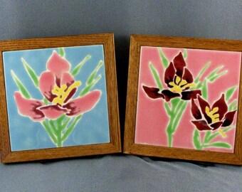 Two Complementing Framed Tiles // Home Decor // Iris Flowers // Home Decor // Eye Pleasing // 1980s