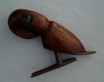 Vintage Folk Art Wood Sculptured Parrot Hand Carved Bird Signed T.Plummer Handmade West Indies Sculpture Collectible Bird Island Souvenir