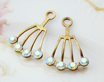 Vintage Art Deco Dangles with Swarovski AB Crystals Patina Brass - 2