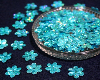 15 mm • Blue Glitter Flower Sequins