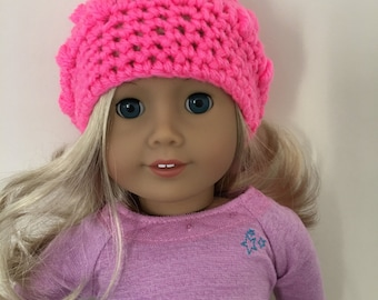 18 inch doll hat, doll slouchy hat, doll hat, doll accessories, crochet doll hat, dolls clothes, pink, (will fit American Girl doll).