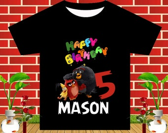 Angry Birds Iron On Transfer, Angry Birds Birthday Shirt, Angry Birds Party, Boy Birthday Shirt, Angry Birds, Personalize Name, Digital File