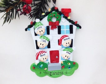 5 Family Member Personalized Christmas Ornament /Personalized Ornament / Personalized Family Ornament / 5 Family Happy Home