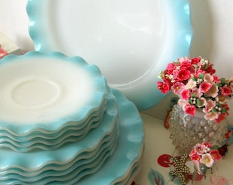 One Vintage Hazel Atlas Aqua Blue Crinoline Saucer Plate - Dishes -