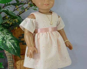 18 Inch Doll DRESS In Peach Blush Eyelet with Peep Shoulder Necklace Bracelet and SHOES or SANDALS Options for do