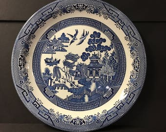 """Churchill Porcelain 13"""" Charger Plate, Round Platter,Churchill Blue Willow Porcelain Plate, Made in England, Staffordshire England Pottery"""