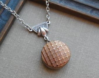 Vintage La Moda Button Necklace, Necklace,  Woven Check Design, Metallic Gold Timeless Trinkets