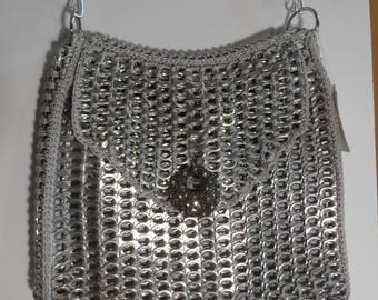 Purse, recycled pop tabs purse fun unique Silver colored large bag