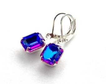 Blue Rainbow Rhinestone Leverback Dangle Earrings / Mothers day gift / Gift for her / purple rhinestone / unique earrings
