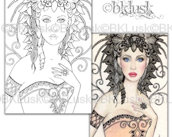 Adult Coloring Page - Black Dahlia by B. K. Lusk - Digital Download Digistamp - Flower Fairy Lady Woman - Tattoo Flash Scrapbook Craft