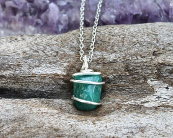 Natural Amazonite Necklace - Green Stone Jewelry - Smooth Gemstone Necklace - Wiccan Jewelry - Gypsy Boho Jewelry - Bohemian Necklace