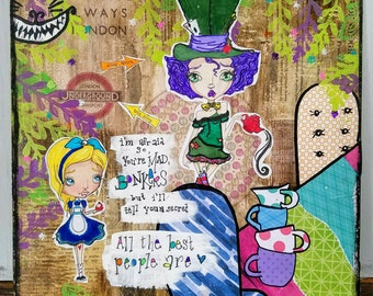 Alice & the Mad Hatter Mixed Media Art Print, Alice in Wonderland
