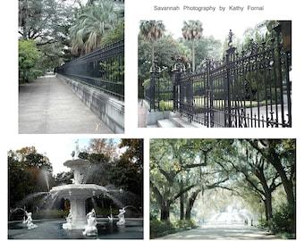 Savannah Photography, Savannah Prints, Forsyth Fountain, Savannah Georgia Prints, Savannah Architecture, Savannah Photos, Savannah Print Set