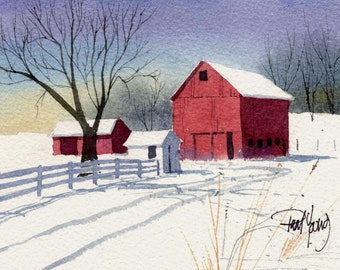 First Snow-Print from an original watercolor painting