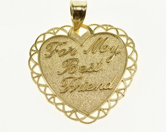 14k For My Best Friend Embossed Pitted Texture Heart Pendant Gold