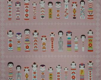 Furoshiki Fabric Pink 'Kokeshi Doll Collection' Cotton Japanese Fabric w/Free Shipping