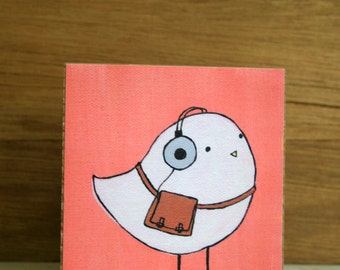 """ART BLOCK: """"Ethan the Hipster Bird"""" featuring White Bird on Coral Background with Retro Headphones and Satchel"""