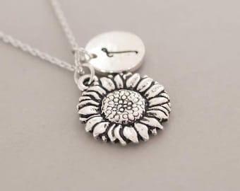 Silver Sunflower necklace ,handmade jewelry, mother daughters necklace, sunflower jewelry , sunflower pendant
