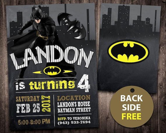Batman invitation batman birthday invitation batman batman filmwisefo Choice Image