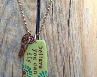 inspirational necklace, Long necklace, affirmation necklace