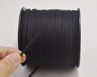 2.7mm Black Faux Suede Leather Cord,10 yards Microfiber,Vegan Suede,DIY Cord Supplies,Flat Faux Suede Cord,Supplies --15#