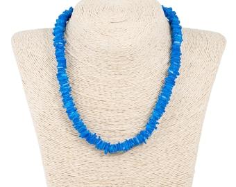 Dark Blue Puka Chip Shells Necklace
