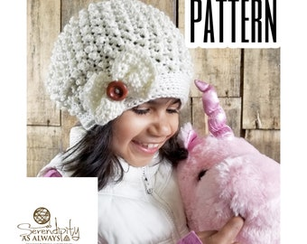 Crochet Pattern Textured Slouch Bow Beanie | Slouchy Hat Crochet Pattern | Kid's and Women's Slouchy Hat Crochet Pattern | PDF Download