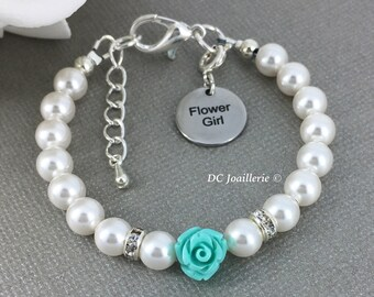Flower Girl Jewelry Flower Girl Bracelet Pearl and Flower Bracelet Swarovski Bracelet Flower Girl Gift Turquoise Flower Bracelet