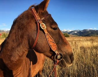 Headstall bridle horse tack hand tooled bridle with daffodil flowers, western headstall, western bridle, western tack