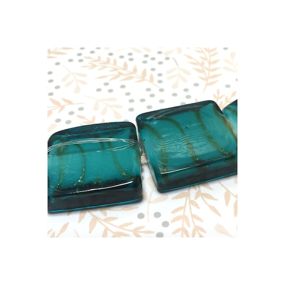 Turquoise Lampwork Pressed Flat Square Beads with White Inside and Gold Foil Stripes 20 mm, 4 beads
