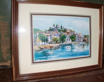 Vintage Greek Greece Framed Art Piece Drawing