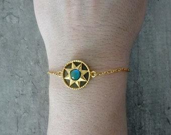 Bracelet with a mood stone & an aventurine stone - stone that changes color and aventurine stone bead bracelet
