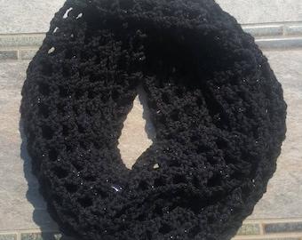 Womens Black Cowl Infinity Scarf