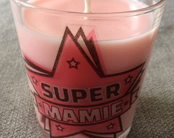 Bougie artisanale 150 grammes Personnalisée Super Maman, Super Mamie